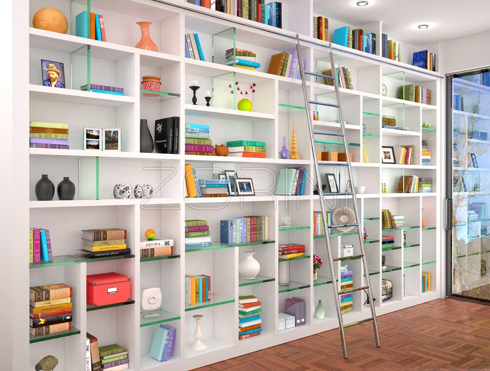 Белые книжные шкафы Измит - фото