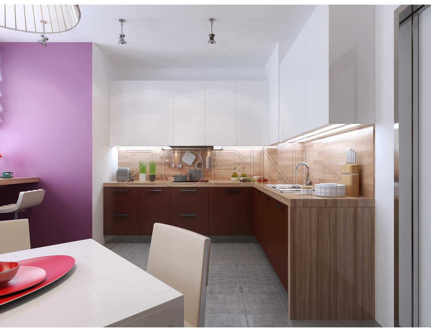 Мебель для угловой кухни Бонд на заказ - фото